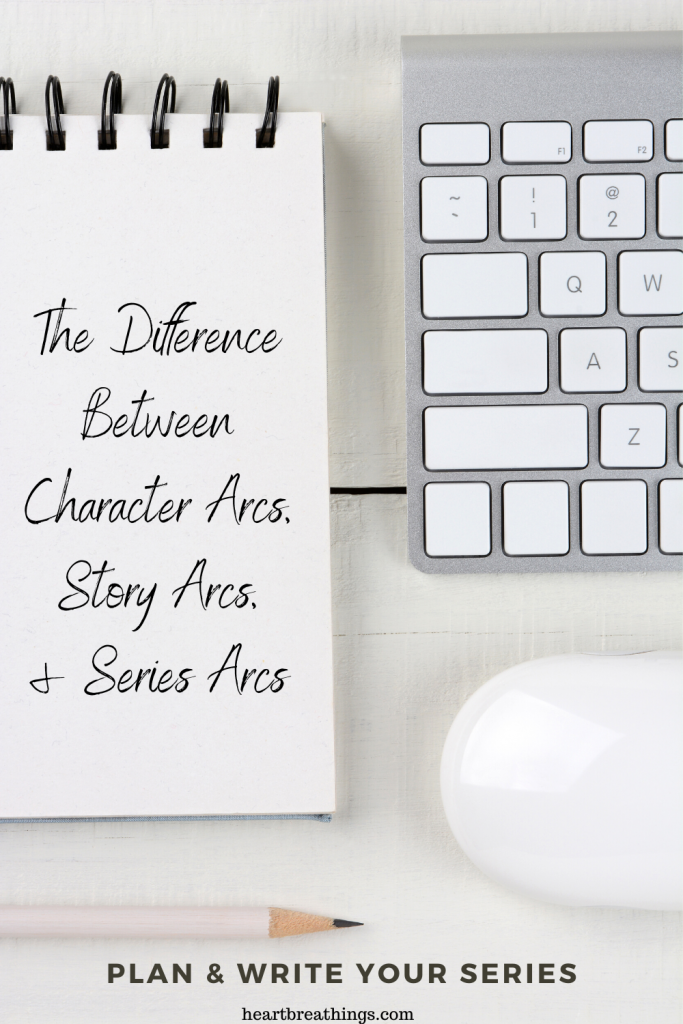 The difference between character arcs, story arcs, and series arcs in fiction.
